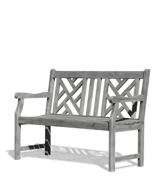 """48"""" Gray Hand Scraped Wood Finish Mosaic Back Outdoor Furniture Patio Bench - IMAGE 1"""