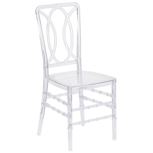 """36"""" Crystal Clear Stackable Chiavari Chair with Designer Back - IMAGE 1"""