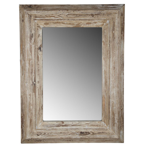 """39.25"""" Antique White Distressed Finish Colfax Framed Wall Mirror - IMAGE 1"""