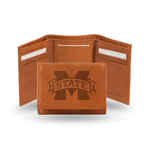 """4"""" Brown College Mississippi State Bulldogs Embossed Trifold Wallet - IMAGE 1"""