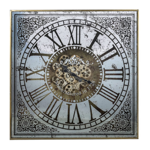 """32"""" Silver and Gold Antique Square Roman Numeral Wall Clock - IMAGE 1"""