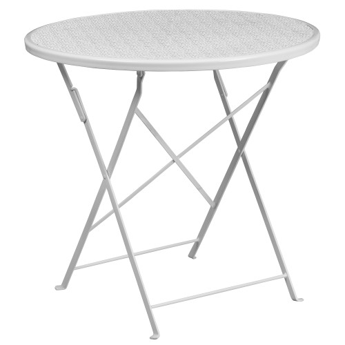 30'' White Round Contemporary Outdoor Patio Folding Table - IMAGE 1