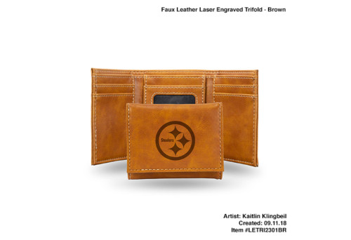 """4"""" Brown NFL Pittsburgh Steelers Trifold Wallet - IMAGE 1"""