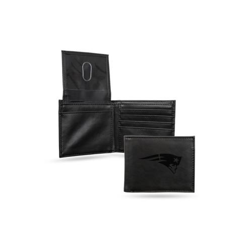 "4"" Black NFL New England Patriots Engraved Billfold Wallet - IMAGE 1"
