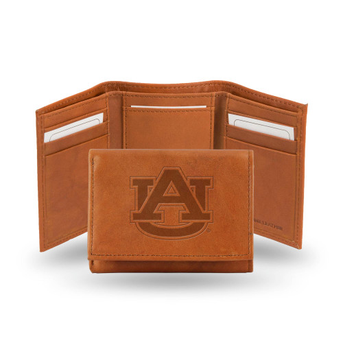"""4"""" Brown College Auburn Tigers Embossed Trifold Wallet - IMAGE 1"""