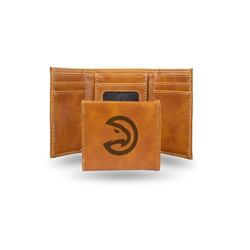 "4"" Brown NBA Atlanta Hawks Rectangular Trifold Wallet - IMAGE 1"
