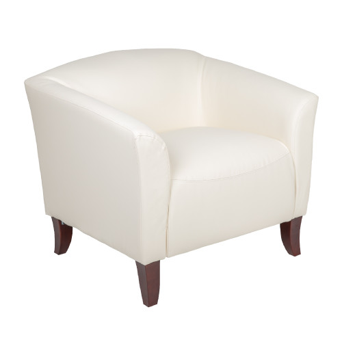"""33.5"""" White and Brown Contemporary Curved Back Upholstered Chair - IMAGE 1"""