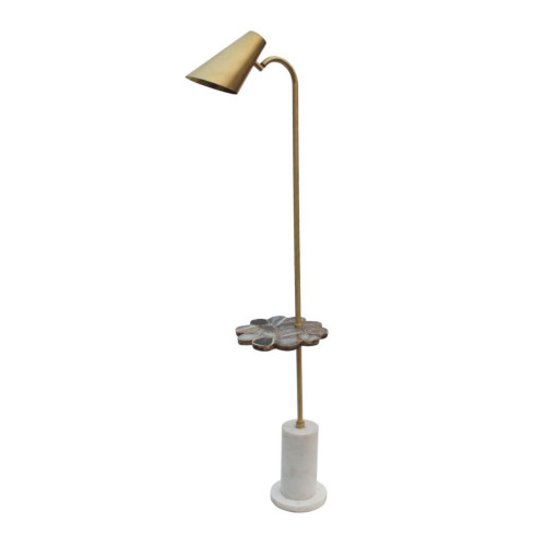 """60"""" Bronze and White Handcrafted Floor Lamp with Tray and Marble Base - IMAGE 1"""
