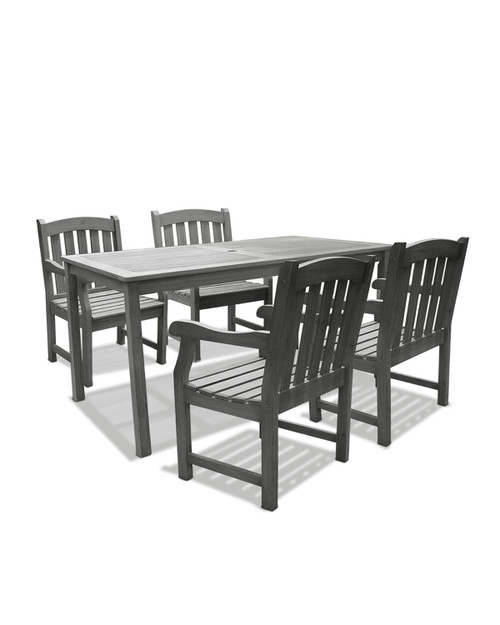 """5-Piece Gray Hand Scraped Wood Finish Table Outdoor Furniture Patio Dining Set with Curve Back Chairs 59"""" - IMAGE 1"""