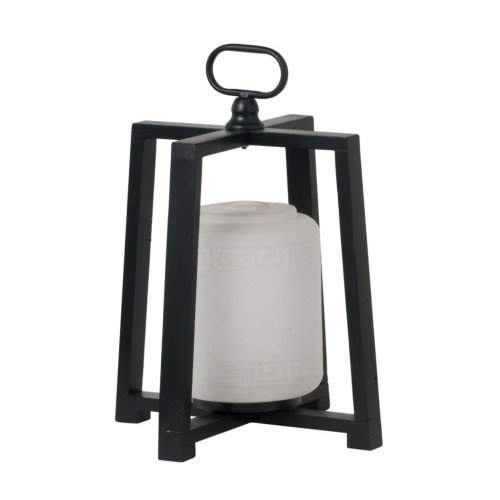 """16.25"""" Black and White Contemporary Lantern with Frame - IMAGE 1"""