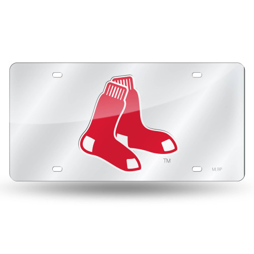 """6"""" x 12"""" Red and Silver Colored MLB Boston Red Sox Tag - IMAGE 1"""