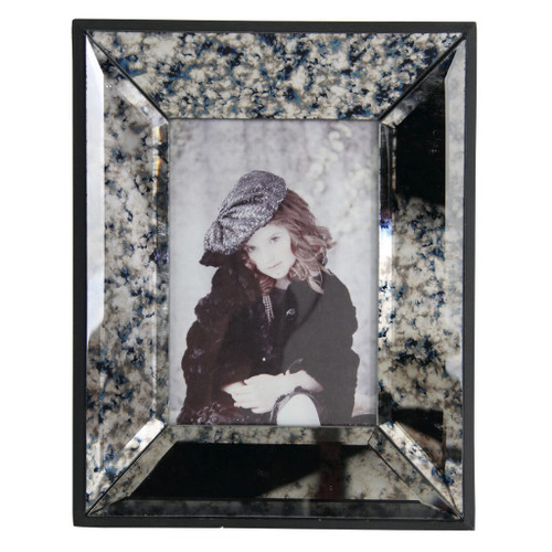 """10.5"""" Ivory and Black Distressed Contemporary Photo Frame - IMAGE 1"""
