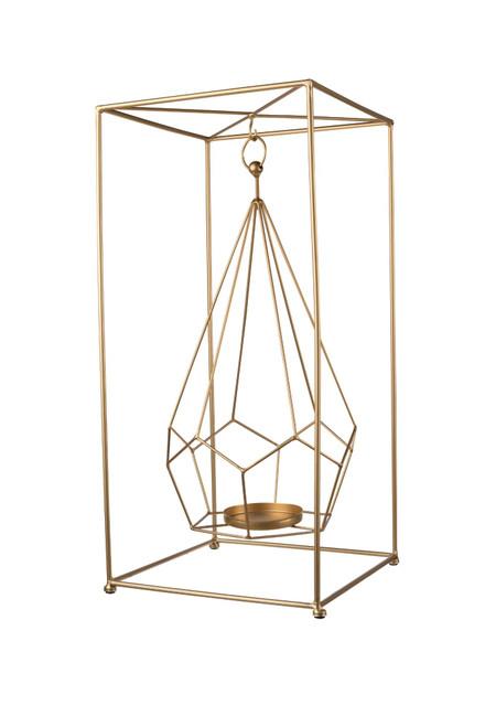 "21.5"" Gold Contemporary Style Embellished Candle Holder - IMAGE 1"