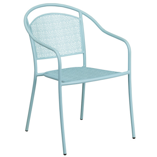 """32.25"""" Sky Blue Contemporary Round Back Outdoor Patio Arm Chair - IMAGE 1"""