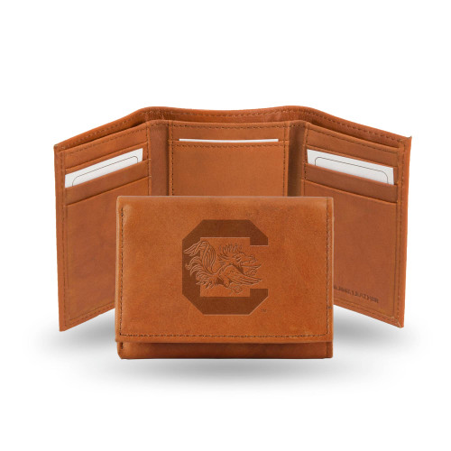 """4"""" Brown College South Carolina Gamecocks Embossed Trifold Wallet - IMAGE 1"""