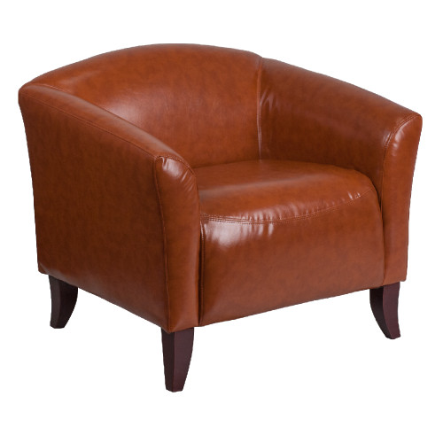 """33.5"""" Brown Solid Contemporary Curved Back Upholstered Chair - IMAGE 1"""