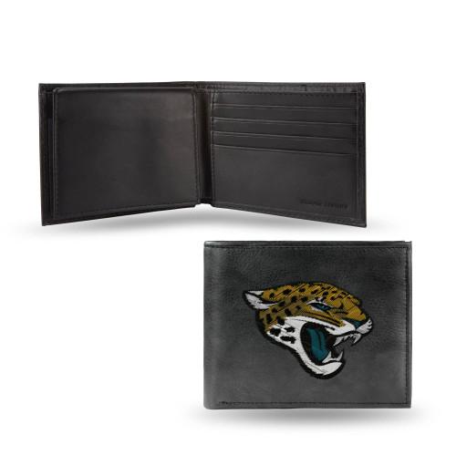 "4"" Black and Yellow NFL Jacksonville Jaguars Embroidered Billfold Wallet - IMAGE 1"