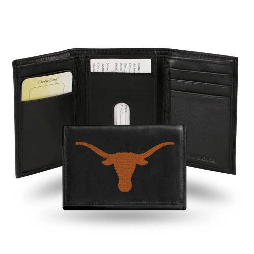 """4"""" Black and Orange College Texas Longhorns Embroidered Trifold Wallet - IMAGE 1"""