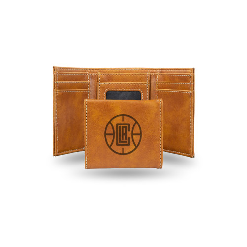"""4"""" Brown NBA Los Angeles Clippers Rectangular Trifold Wallet - IMAGE 1"""