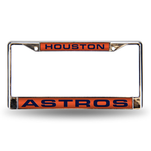 "6"" x 12"" Orange and Blue MLB Houston Astros License Plate Cover - IMAGE 1"