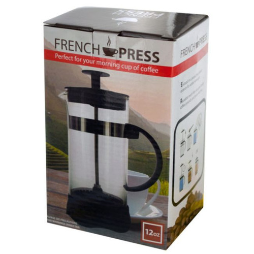 """Pack of 4 Black and White French Press Coffee Maker 6.25"""" - IMAGE 1"""
