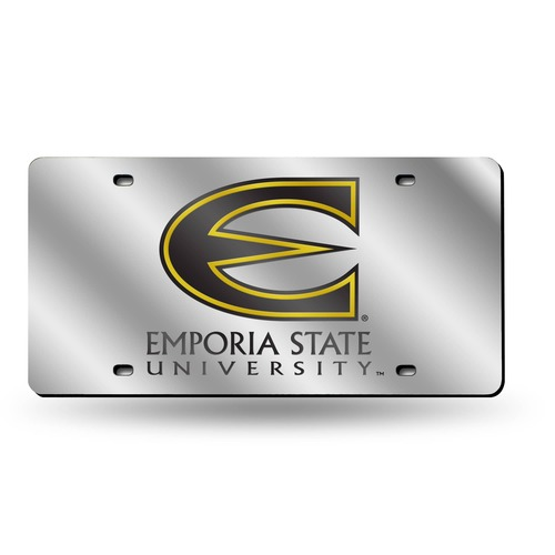 """6"""" x 12"""" Silver Colored and Black College Emporia State Hornets Tag - IMAGE 1"""