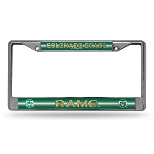 """6"""" x 12"""" Silver Colored and Green College Colorado State Rams License Plate Cover - IMAGE 1"""