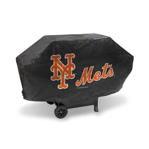 "68"" x 35"" Black and Orange MLB New York Mets Deluxe Grill Cover - IMAGE 1"