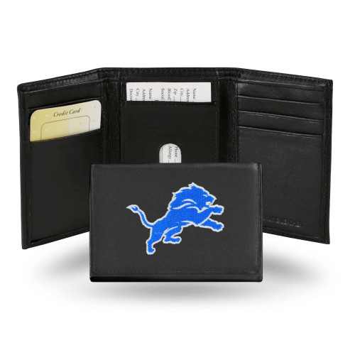 """4"""" Blue and Black NFL Detroit Lions Embroidered Trifold Wallet - IMAGE 1"""