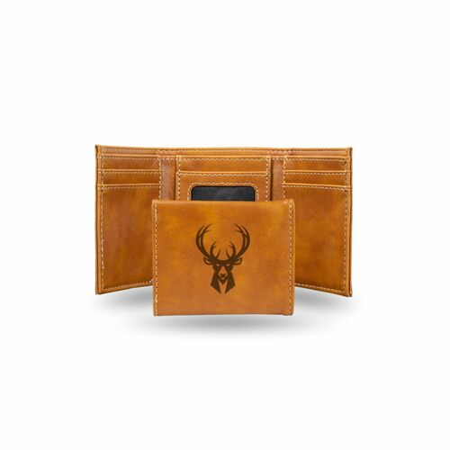 "4"" Brown NBA Milwaukee Bucks Rectangular Trifold Wallet - IMAGE 1"