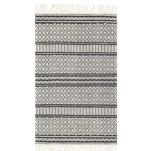 3' x 5' Black and White Geometric Striped Pattern Rectangular Hand Woven Area Rug - IMAGE 1