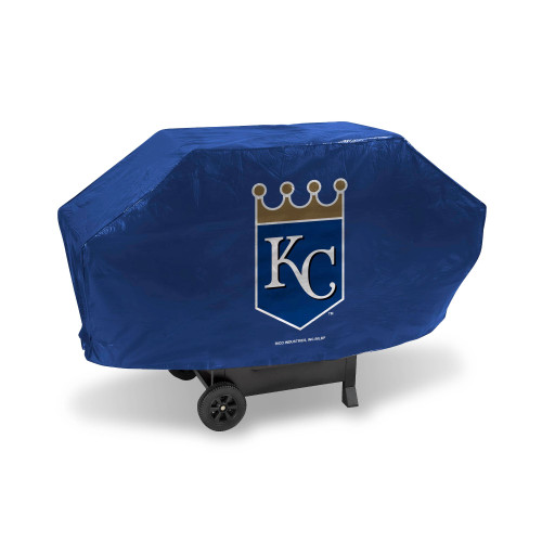 "68"" x 35"" Blue and Silver Colored MLB Kansas City Royals Deluxe Grill Cover - IMAGE 1"