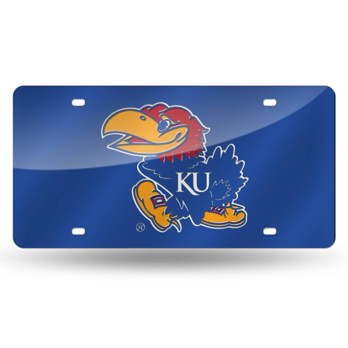 "12"" Blue and Yellow College Kansas Jayhawks Tag - IMAGE 1"
