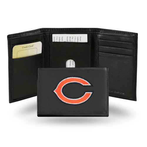 """4"""" Black and Orange NFL Chicago Bears Embroidered Trifold Wallet - IMAGE 1"""