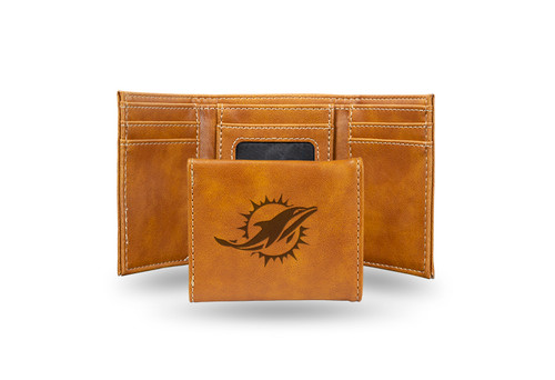 DOLPHINS ENGRAVED BROWN TRIFOLD WALLET - IMAGE 1