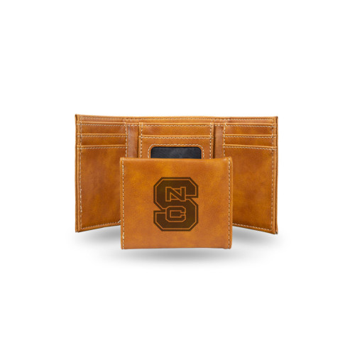 """4"""" Brown College North Carolina State Wolfpack Engraved Trifold Wallet - IMAGE 1"""
