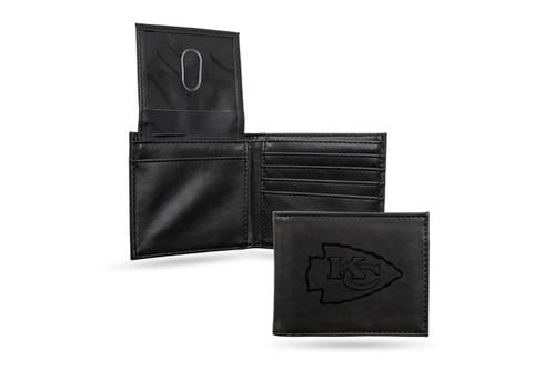 "4"" Black NFL Kansas City Chiefs Engraved Billfold Wallet - IMAGE 1"