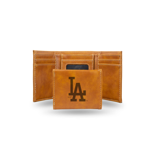 """4"""" Brown MLB Los Angeles Dodgers Rectangular Trifold Wallet - IMAGE 1"""