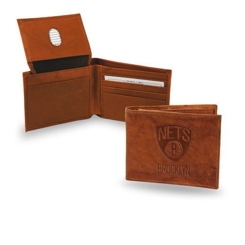 "4"" Brown NBA Brooklyn Nets Embossed Billfold Wallet - IMAGE 1"
