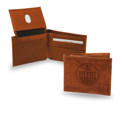 """4"""" Brown NHL Edmonton Oilers Embossed Billfold Wallet - IMAGE 1"""