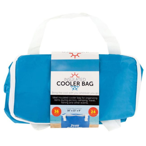 """Pack of 4 Blue and White Insulated Cooler Tote Bags 16"""" - IMAGE 1"""