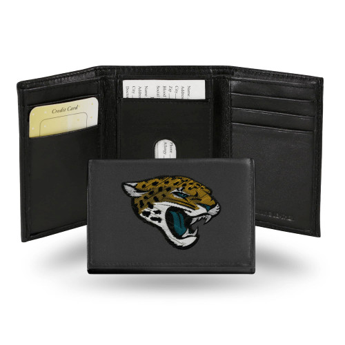 """4"""" Black and Yellow NFL Jacksonville Jaguars Embroidered Trifold Wallet - IMAGE 1"""