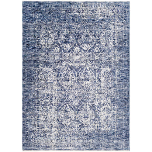 """9' x 13'1"""" Distressed Damask Patterned Denim Blue and White Rectangular Area Throw Rug - IMAGE 1"""