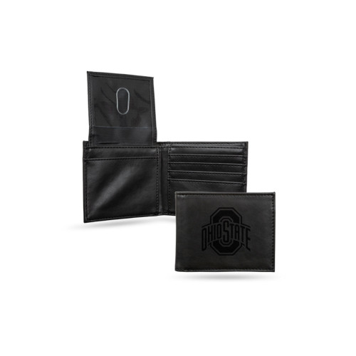 "4"" Black College Ohio State Buckeyes Engraved Billfold Wallet - IMAGE 1"