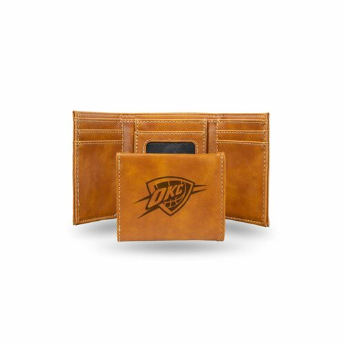 "4"" Brown NBA Oklahoma City Thunder Trifold Wallet - IMAGE 1"