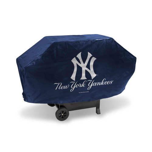 "68"" x 35"" Silver Colored and Navy Blue MLB New York Yankees Deluxe Grill Cover - IMAGE 1"