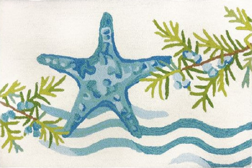 """22"""" x 34"""" Blue and White Ocean Tide Starfish Area Rug - IMAGE 1"""