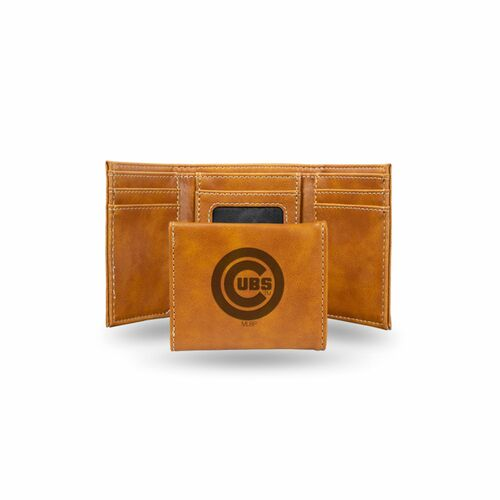 """4"""" Brown MLB Chicago Cubs Rectangular Trifold Wallet - IMAGE 1"""