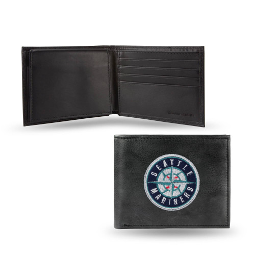 """4"""" Blue and Black MLB Seattle Mariners Embroidered Billfold Wallet - IMAGE 1"""