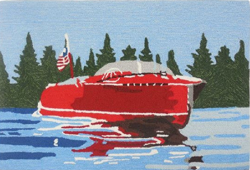 """22"""" x 34"""" Red and Blue Vintage Motor Boat Area Rug - IMAGE 1"""